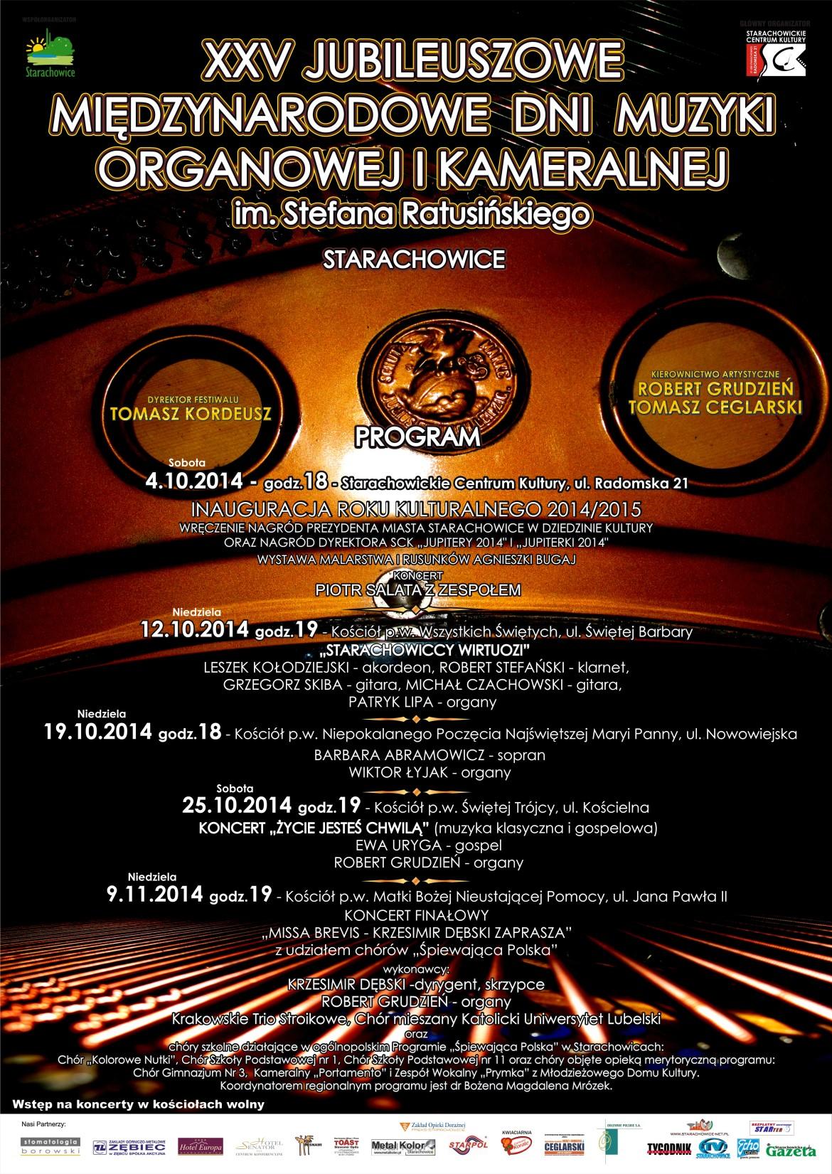 Archiwum SCK. Program XXV Jubileuszowych Międzynarodowych Dni Muzyki Organowej i Kameralnej im. Stefana Ratusińskiego w Starachowicach.