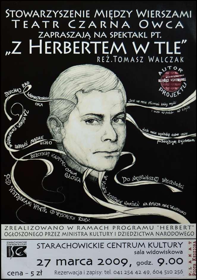 """Archiwum SCK. Spektakl Teatru Czarna Owca """"Z Herbertem w tle""""."""