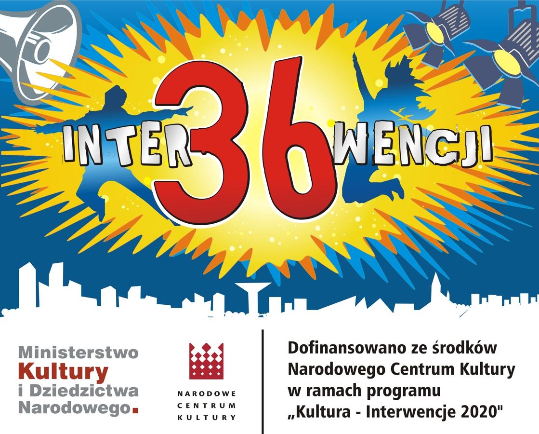 """grafika 36 interwencji - informacja o dofinansowaniu ze środków Narodowego Centrum Kultury w ramach programu """"Kultura - Interwencje 2020"""""""